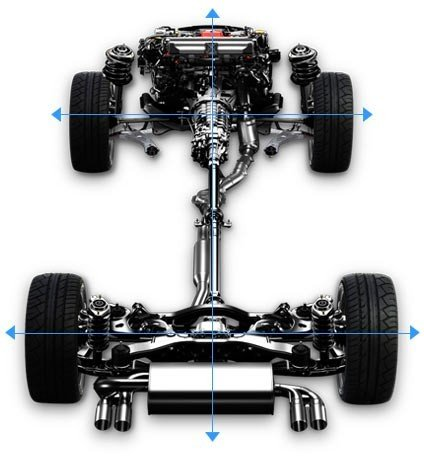 Hệ dẫn động 04 bánh toàn thời gian đối xứng Symmetrical AWD cung cấp lực kéo và phân bổ lực tối ưu giữa các bánh xe.