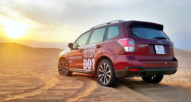 Đánh giá xe Subaru Forester 2016 có đuôi xe với cánh gió thể thao.