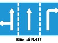 Biển hiệu lệnh hướng đi trên mỗi làn đường phải theo R.411.