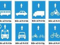 Nhóm biển hiệu làn đường dành riêng cho mỗi loại xe R412.