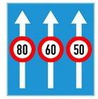 Biển ghép tốc độ tối đa cho phép trên từng làn đường.
